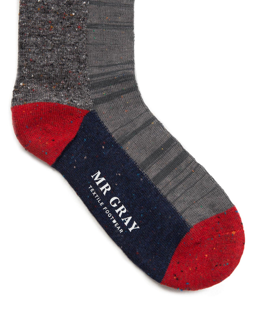 Slub Nep Colour Block Sock | Mr. Gray