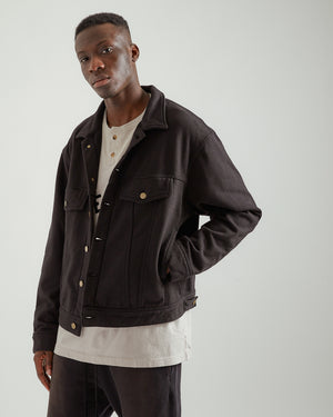 French Terry Trucker Jacket in Black