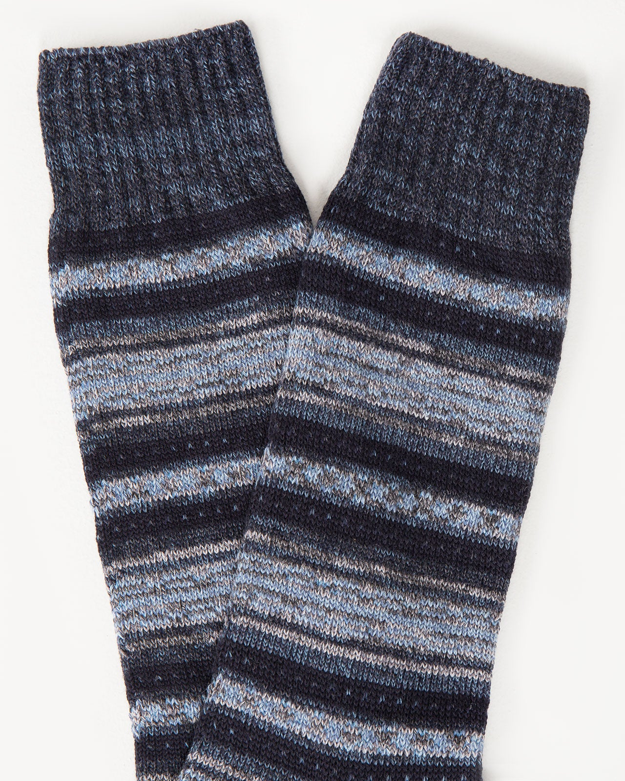 Blanket Border Sock in Black Navy | Mr. Gray