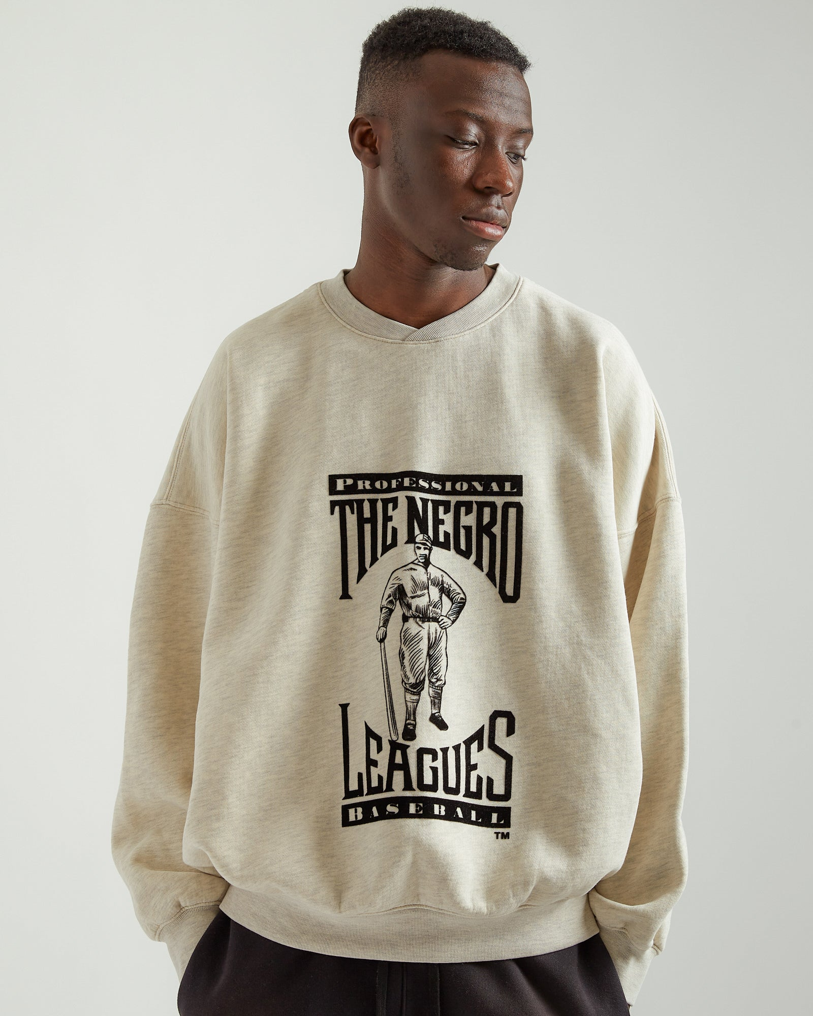 Felted Graphic Sweatshirt in Beige