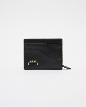 Curve Leather Zip Pouch in Black