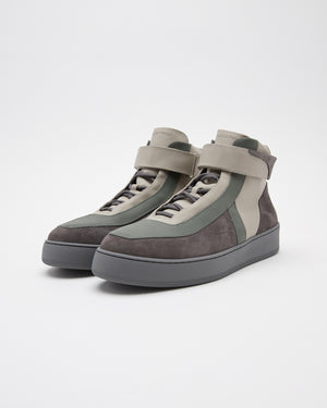 High Top Leather Sneaker in Gray