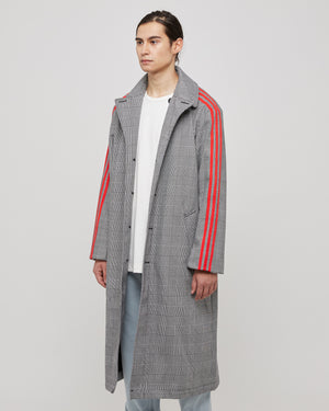 424 Wool Trench Coat in Gray/Red Stripe