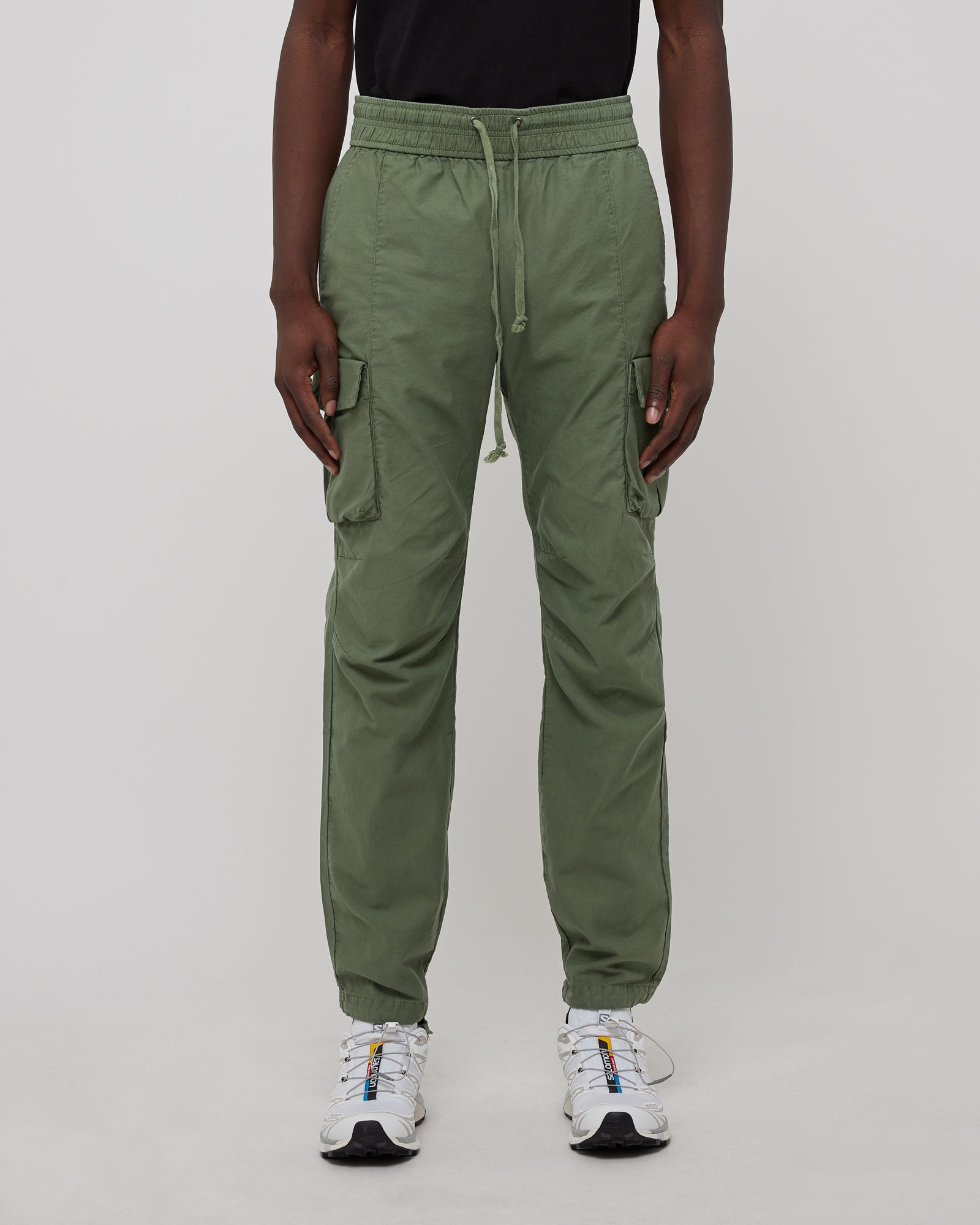 Back Sateen Cargo Pants in Olive
