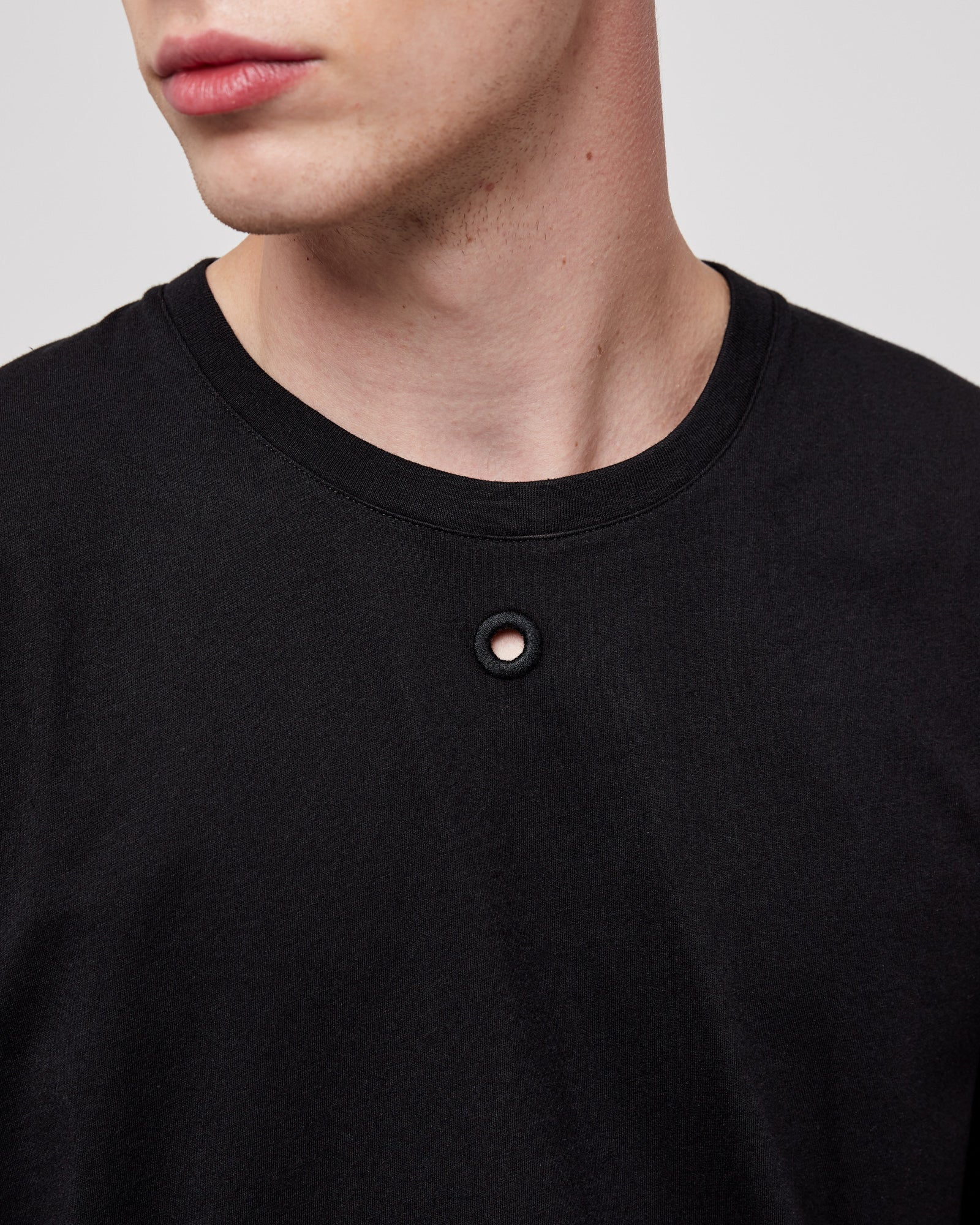 Embroidered Hole T-Shirt in Black