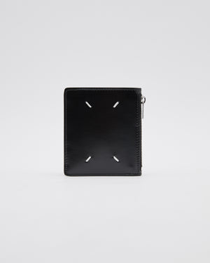 Zipper Stitch Wallet in Gloss Black