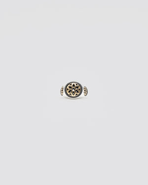 Club Ring, Small, Sterling with 22K Rosettes, Size 8