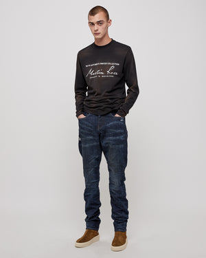 011 Straight Leg Denim in Black Indigo Wash Laser