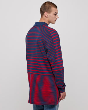 Panelled Polo Top in Red Stripe