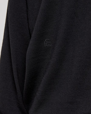 Double Sleeve Pullover Sweatshirt in Black
