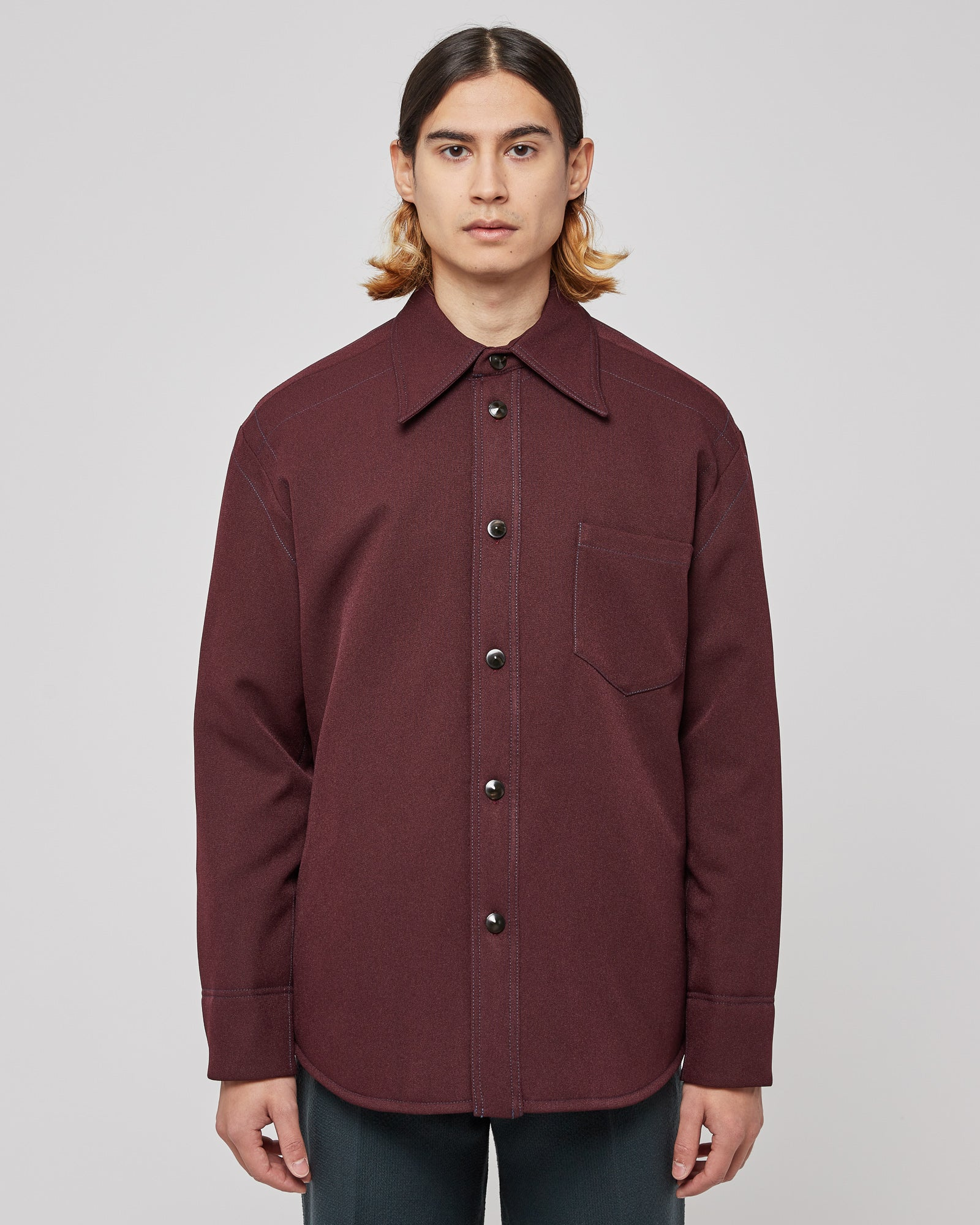 Deke Padded Shirt in Burgundy