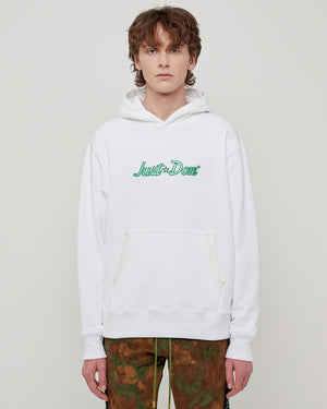 Just Don Logo Hoodie in White