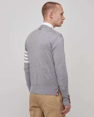 Classic V-Neck Cardigan in Light Gray