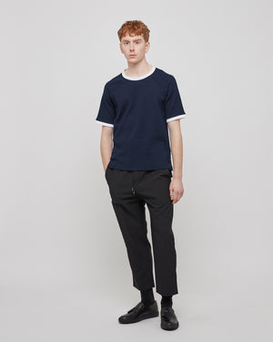 Ringer Seersucker T-Shirt in Navy