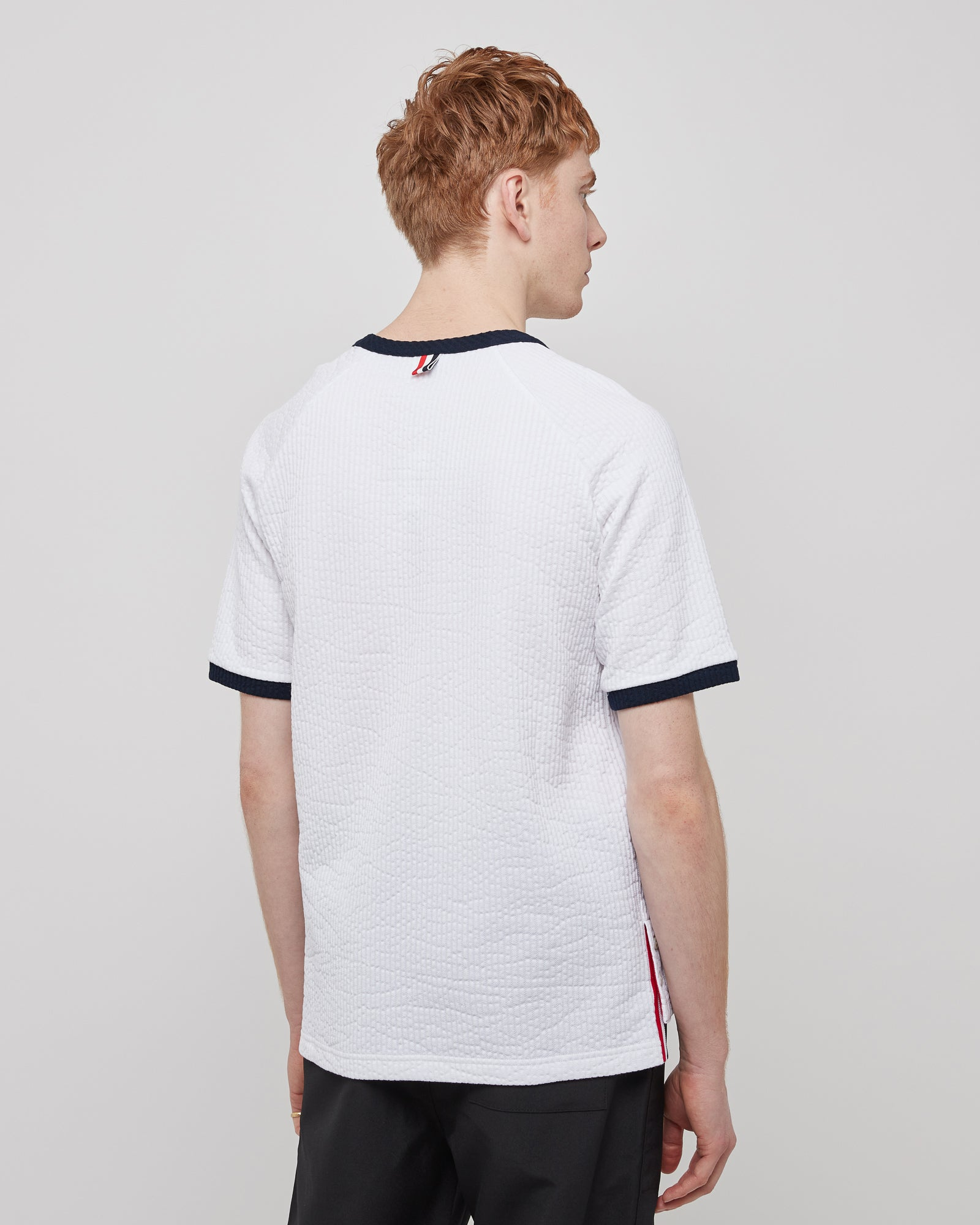 Ringer Seersucker T-Shirt in White