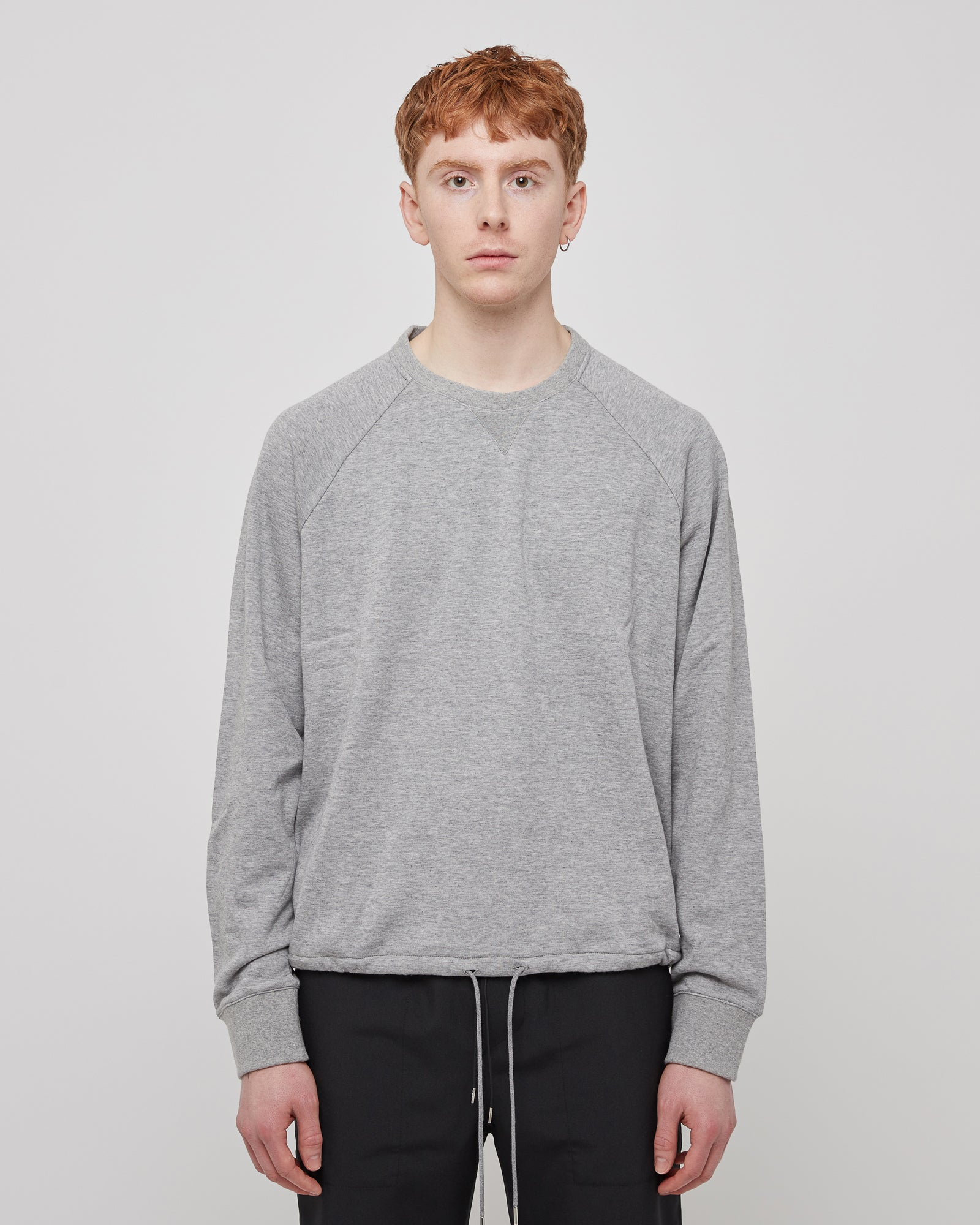 Crewneck Drawstring Sweatshirt in Light Gray