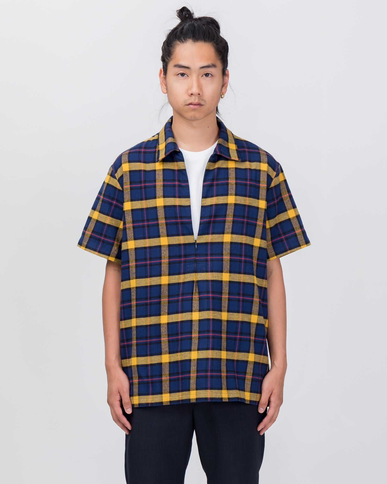 Slicker Zippered Polo in Blue Plaid | Goodfight