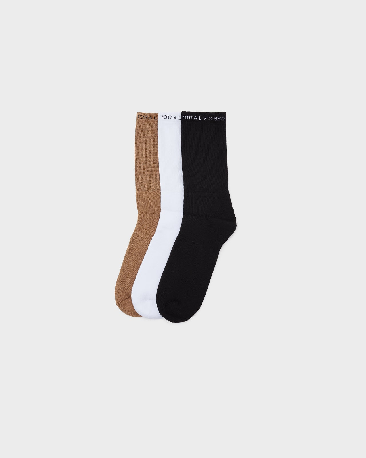 3 Pack of Socks in Black, White, Brown