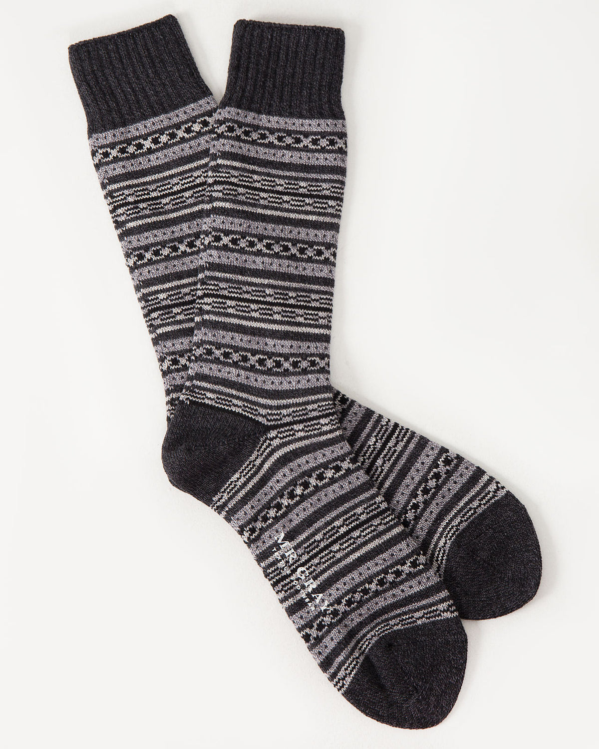 Blanket Border Sock in Black Gray