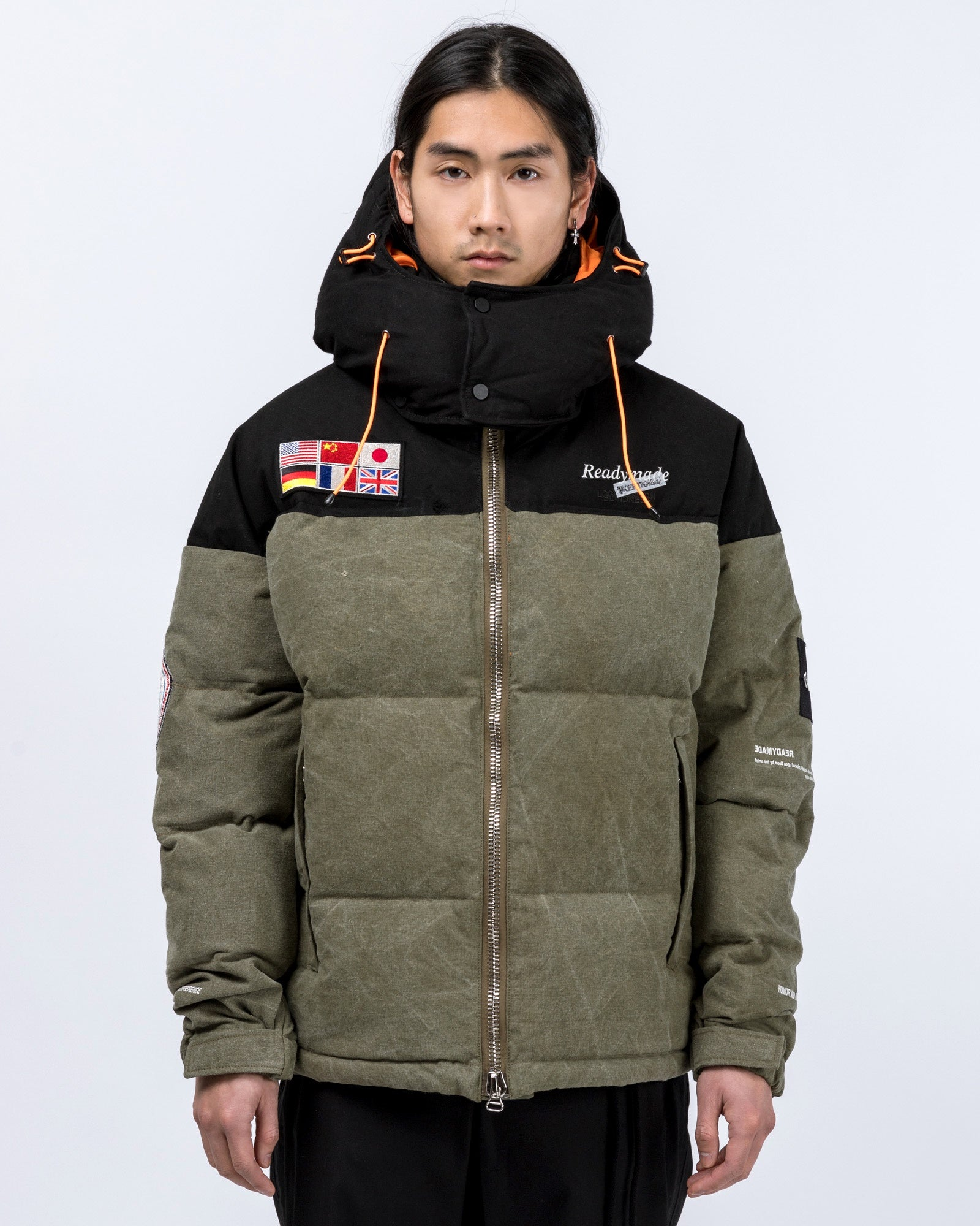 Flag Patch Down Jacket in Green | Readymade