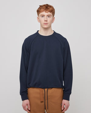 Crewneck Drawstring Sweatshirt in Navy