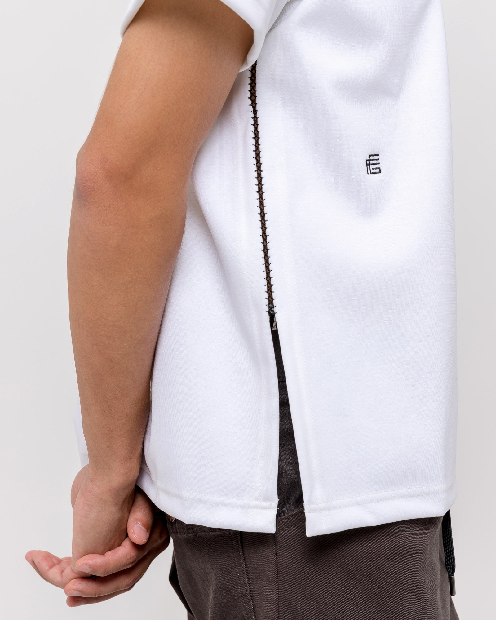 Side Embroidered T-Shirt in White