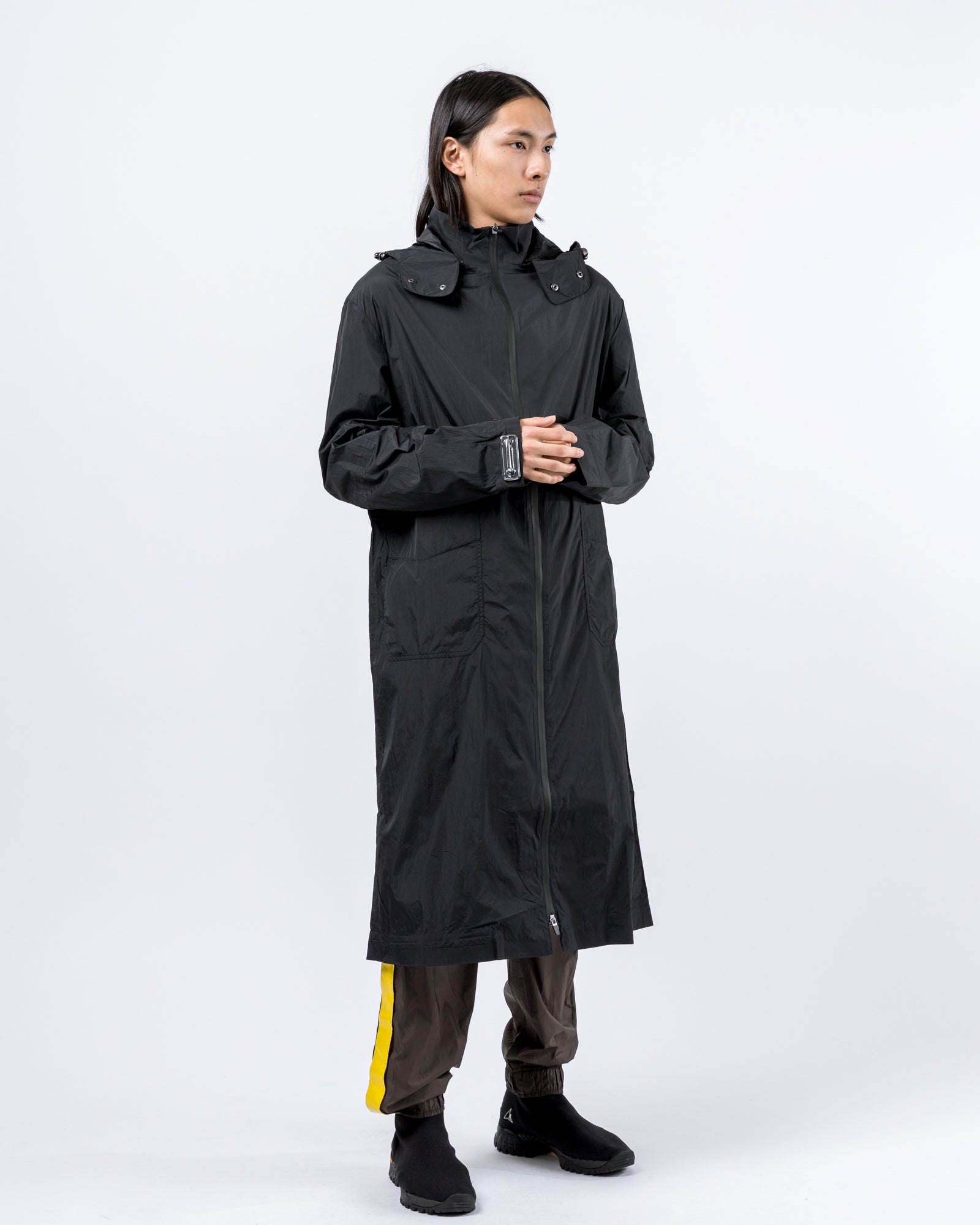 Long Coat in Black | Oakley by Samuel Ross