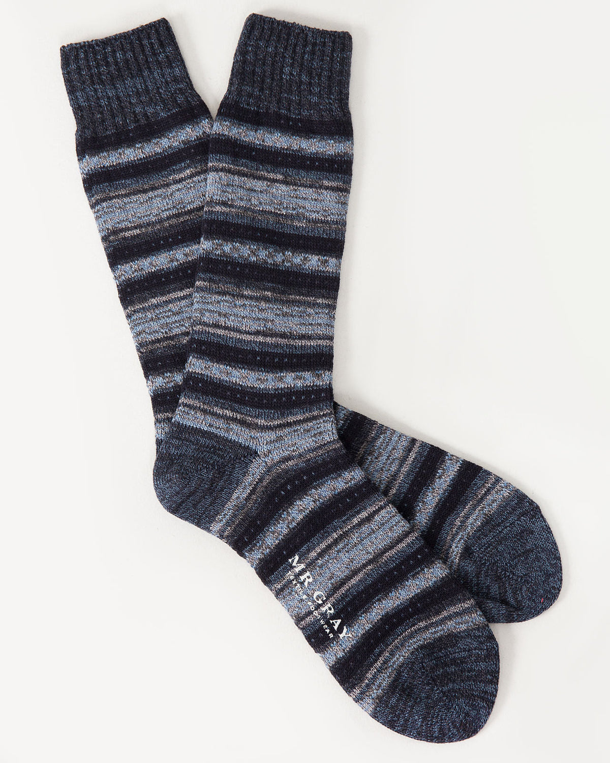 Blanket Border Sock in Black Navy