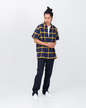 Slicker Zippered Polo in Blue Plaid