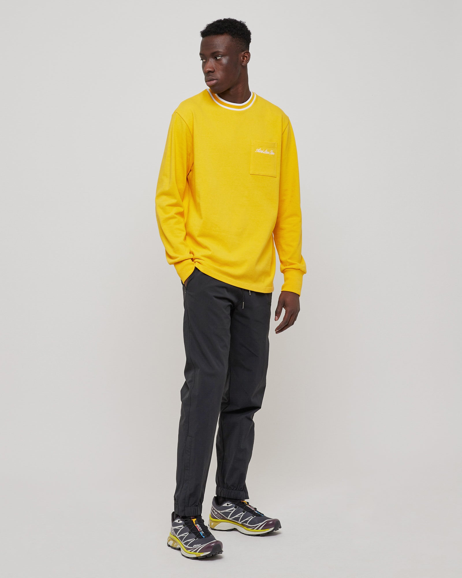 Sriped Collar L/S T-shirt in Golden Rod