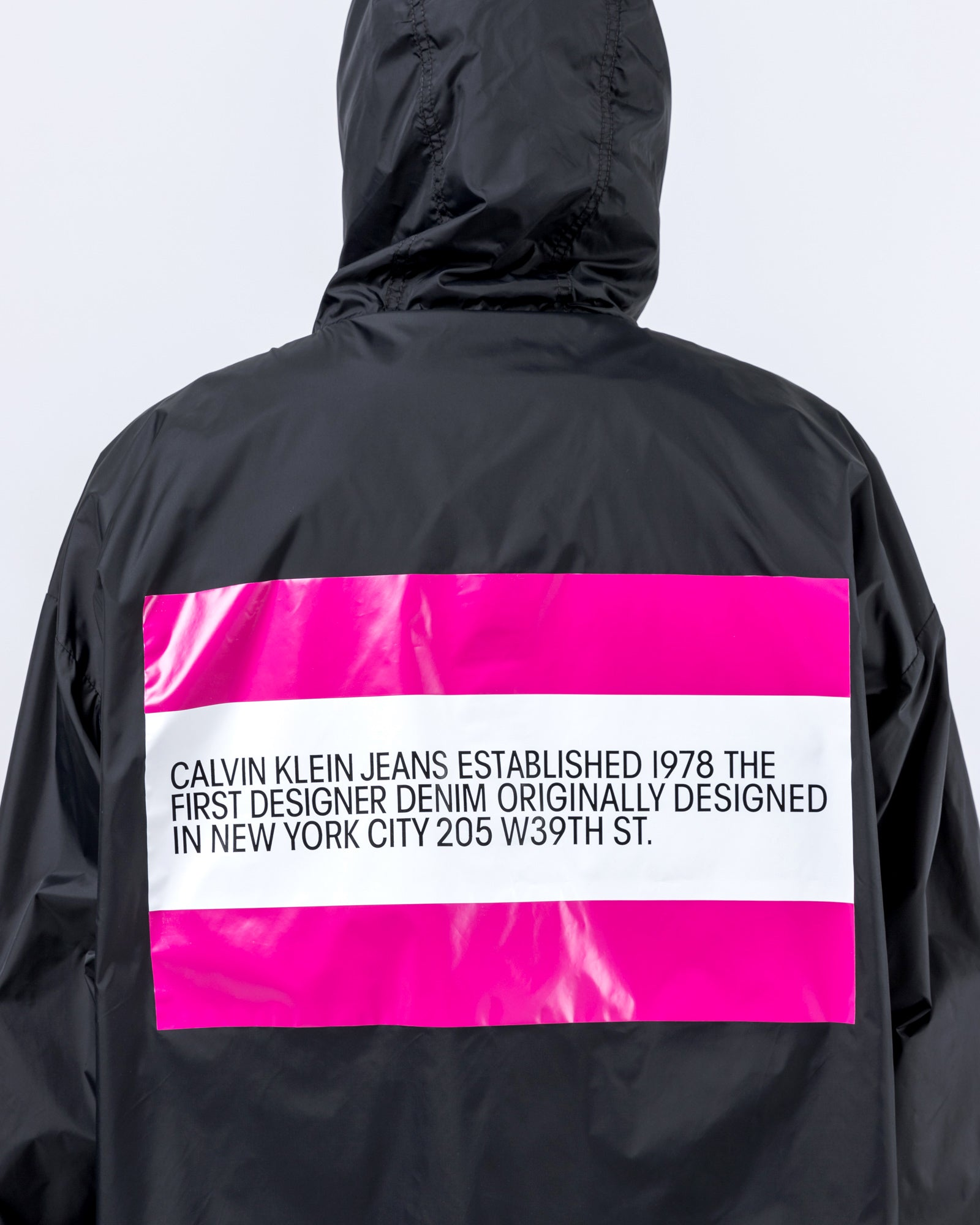 Logo Anorak in Black and Pink