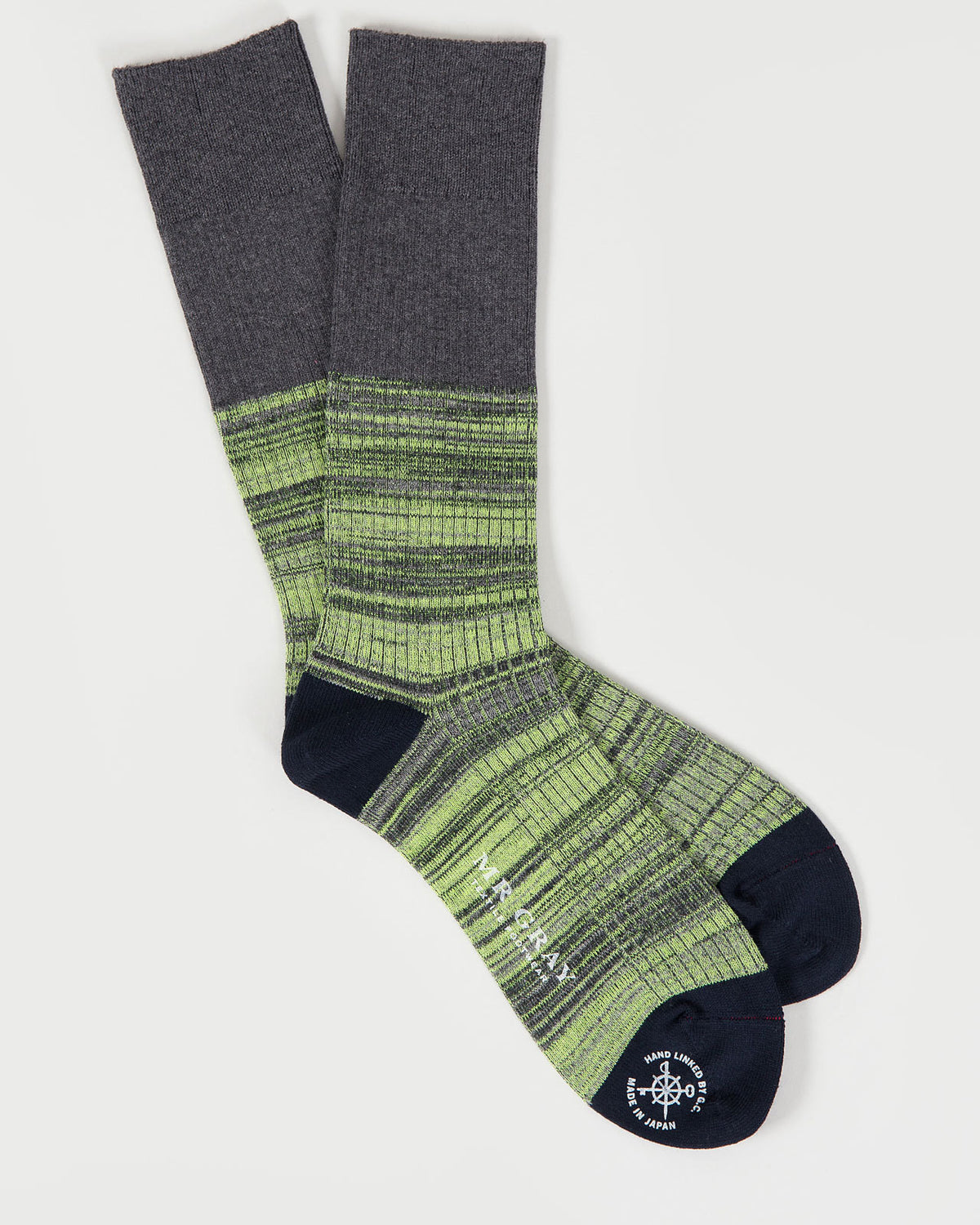 Reverse Hi-Vis Melange Sock in Green