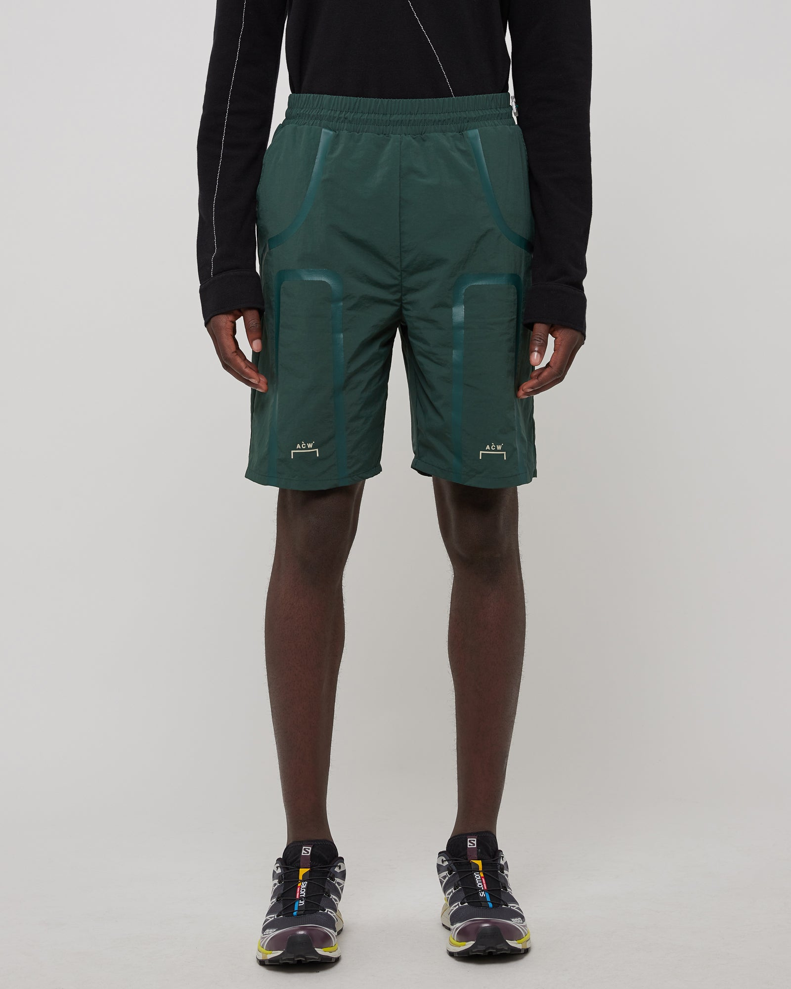 Bracket Taped Track Shorts In Forest Green