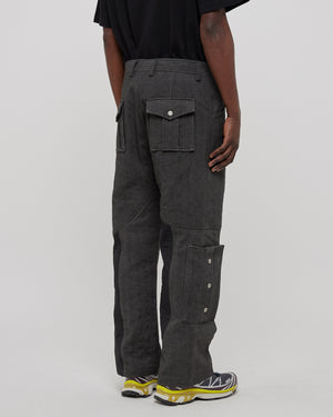 Diesel Red Tag Stain Denim Cargo Trouser in Gray and Black