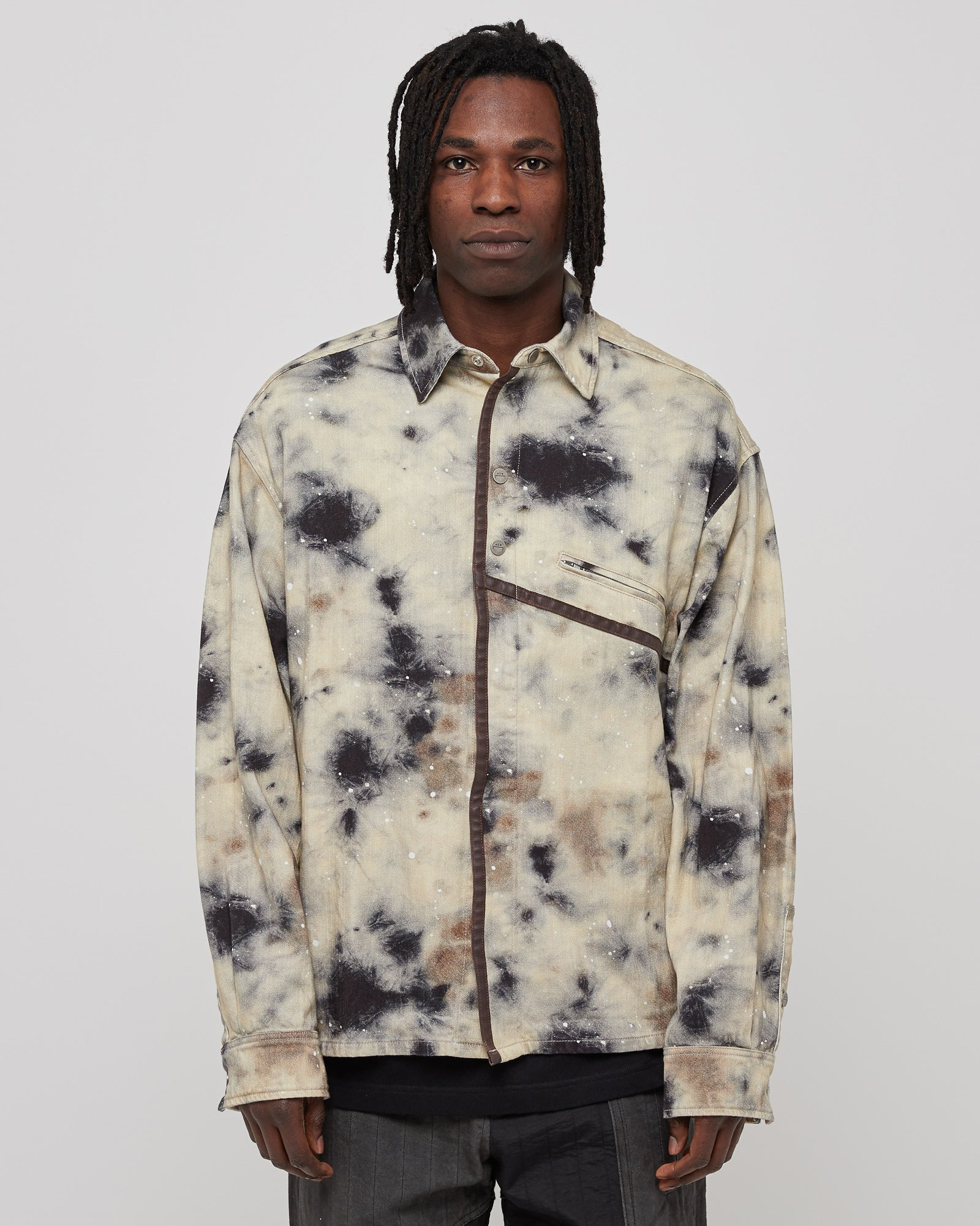 Diesel Red Tag Stain Print Overshirt in Beige