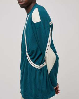 Jumper Drawcord Crewneck in Deep Teal