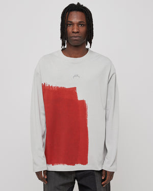 L/S Block Painted T-Shirt in Light Gray