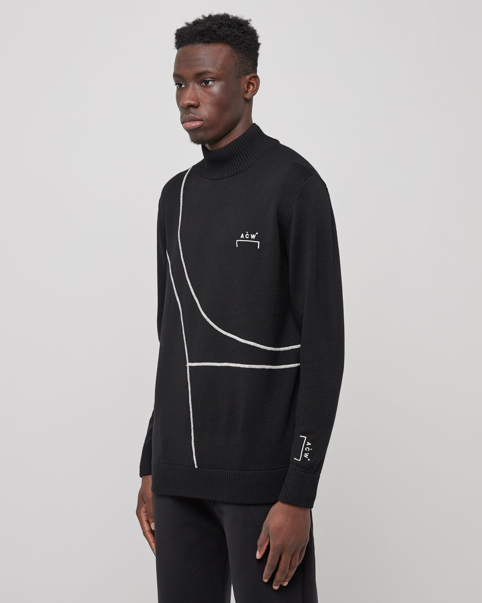 3D Rubberised Turtleneck in Black