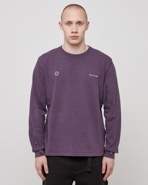 L/S Print T-Shirt in Purple