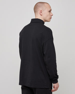L/S Roll Neck T-Shirt in Black