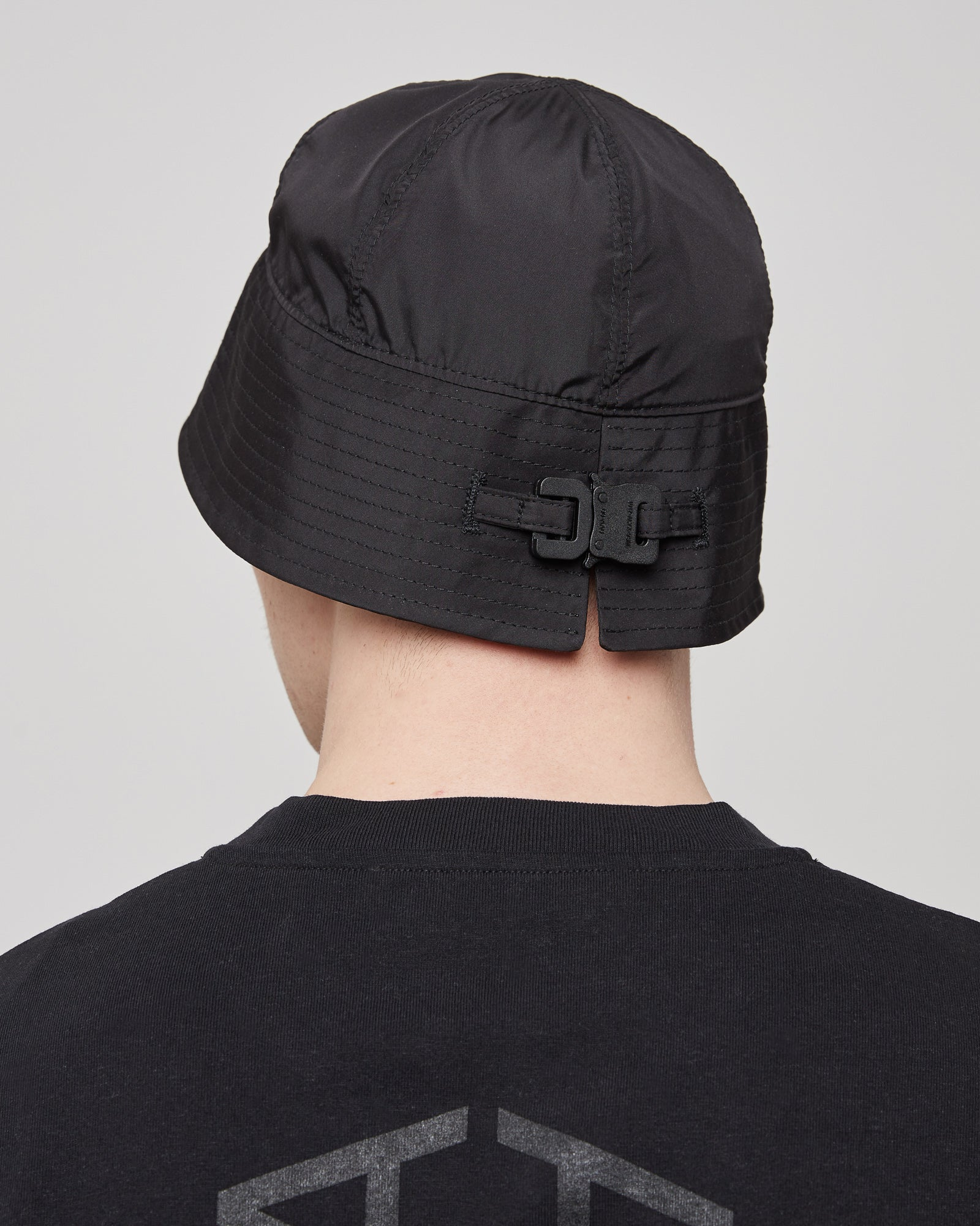Narrow Bucket Hat With Buckle in Black