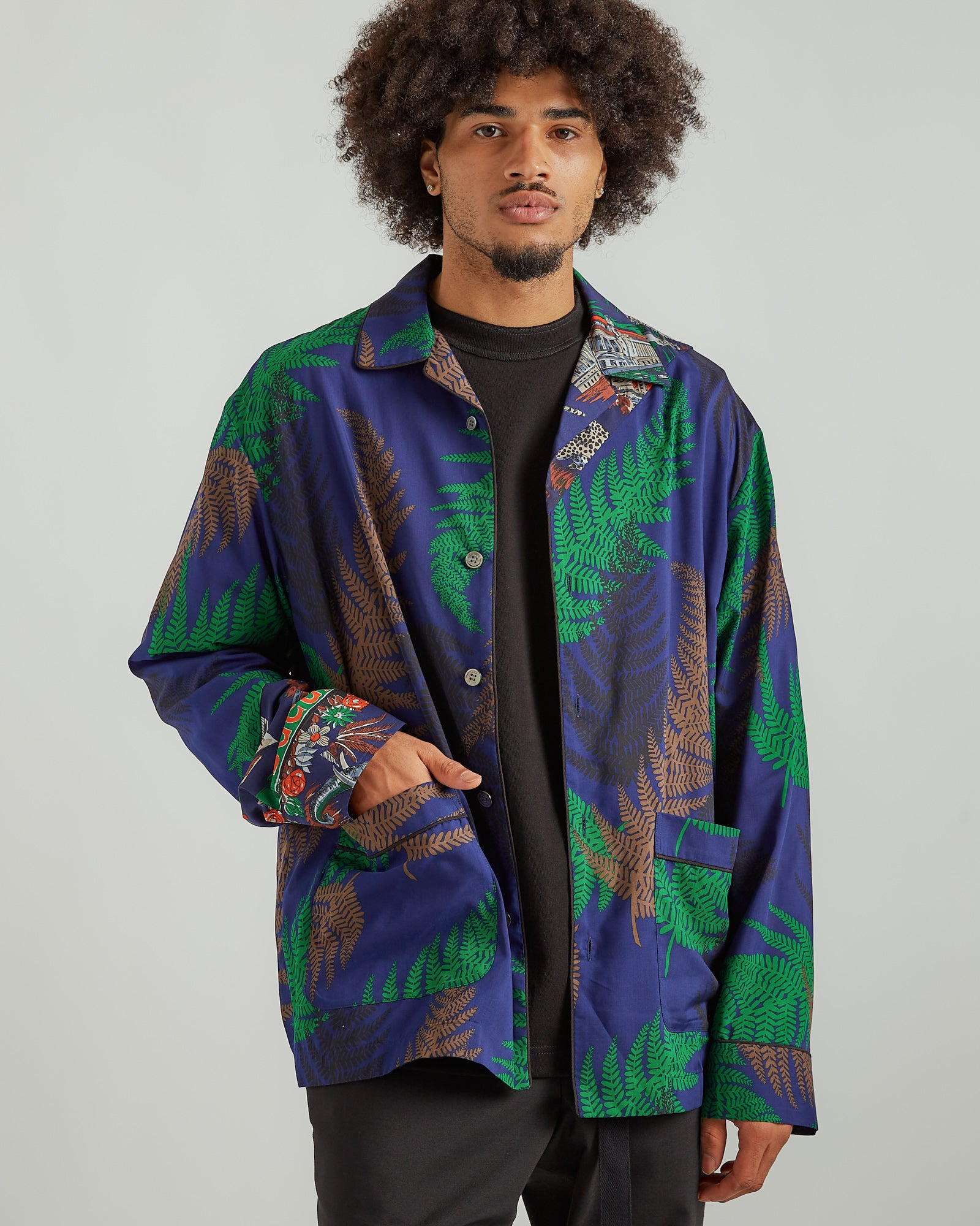 Archive Mix Print Shirt in Blue/Green