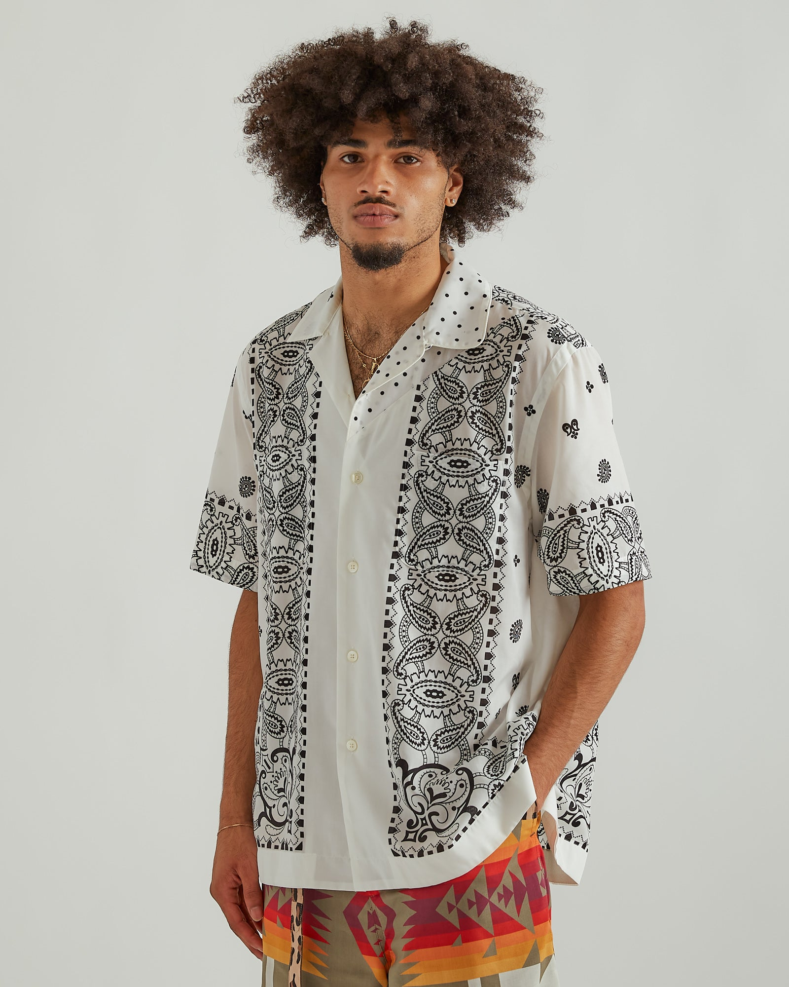 Archive Mix Print Shirt in White