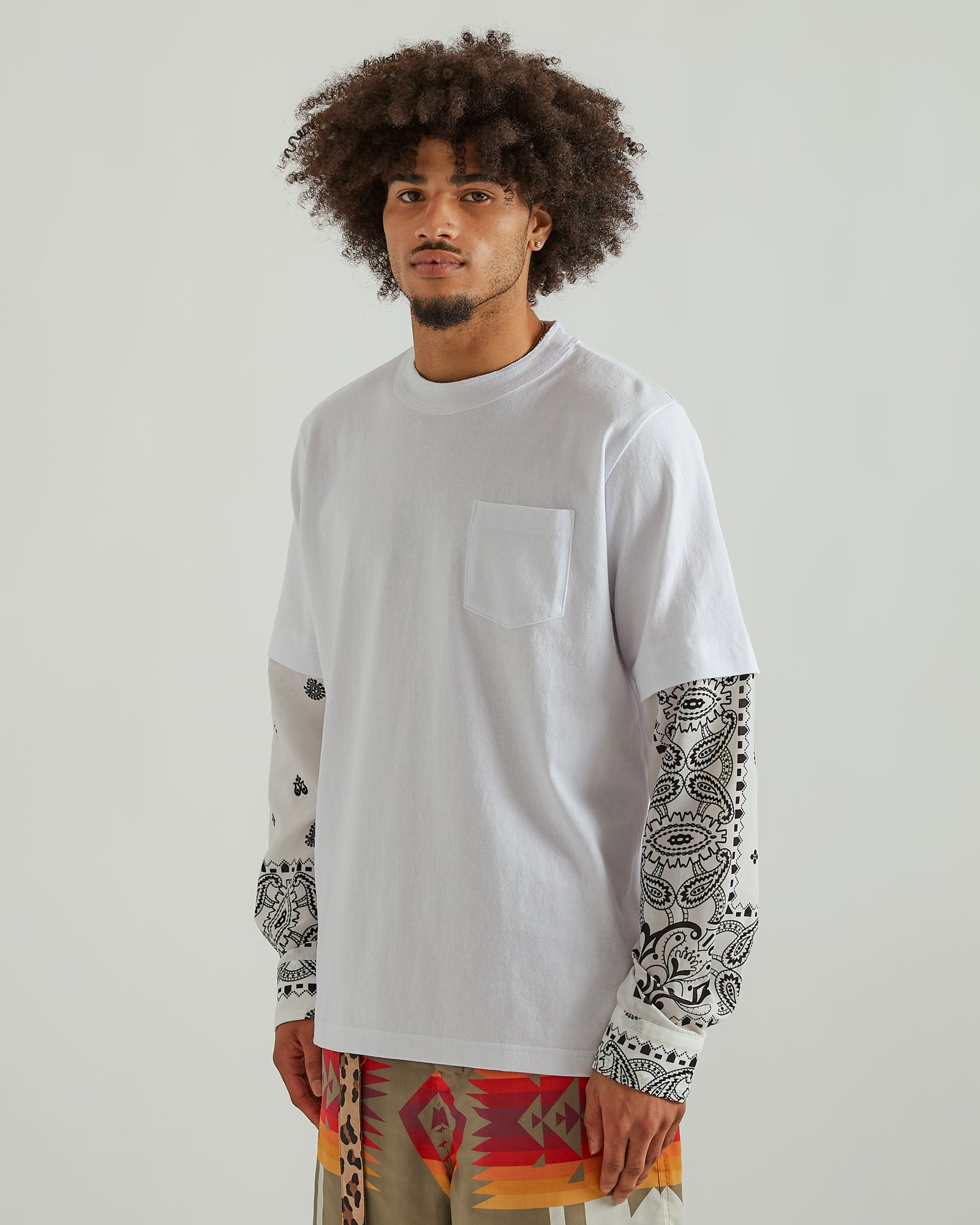 Archive Print L/S T-Shirt in White