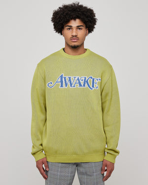 Classic Logo Intarsia Sweater in Lime Green