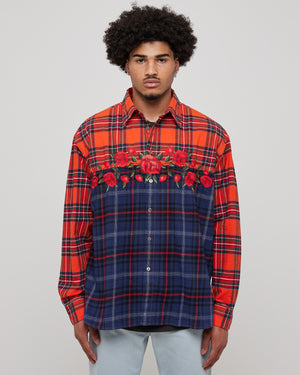 Embroidered Rose Flannel in Red & Blue
