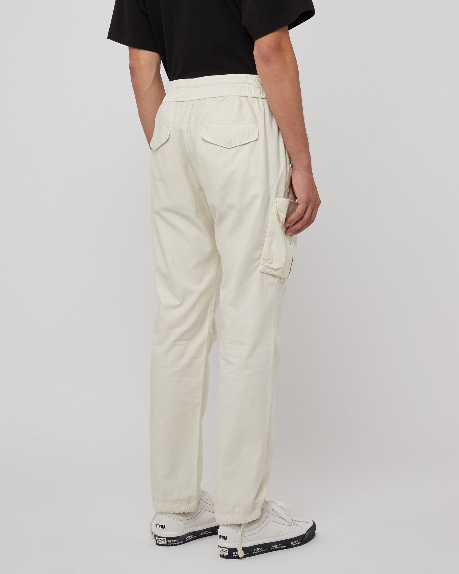 Back Sateen Cargo Pants in Egg Shell