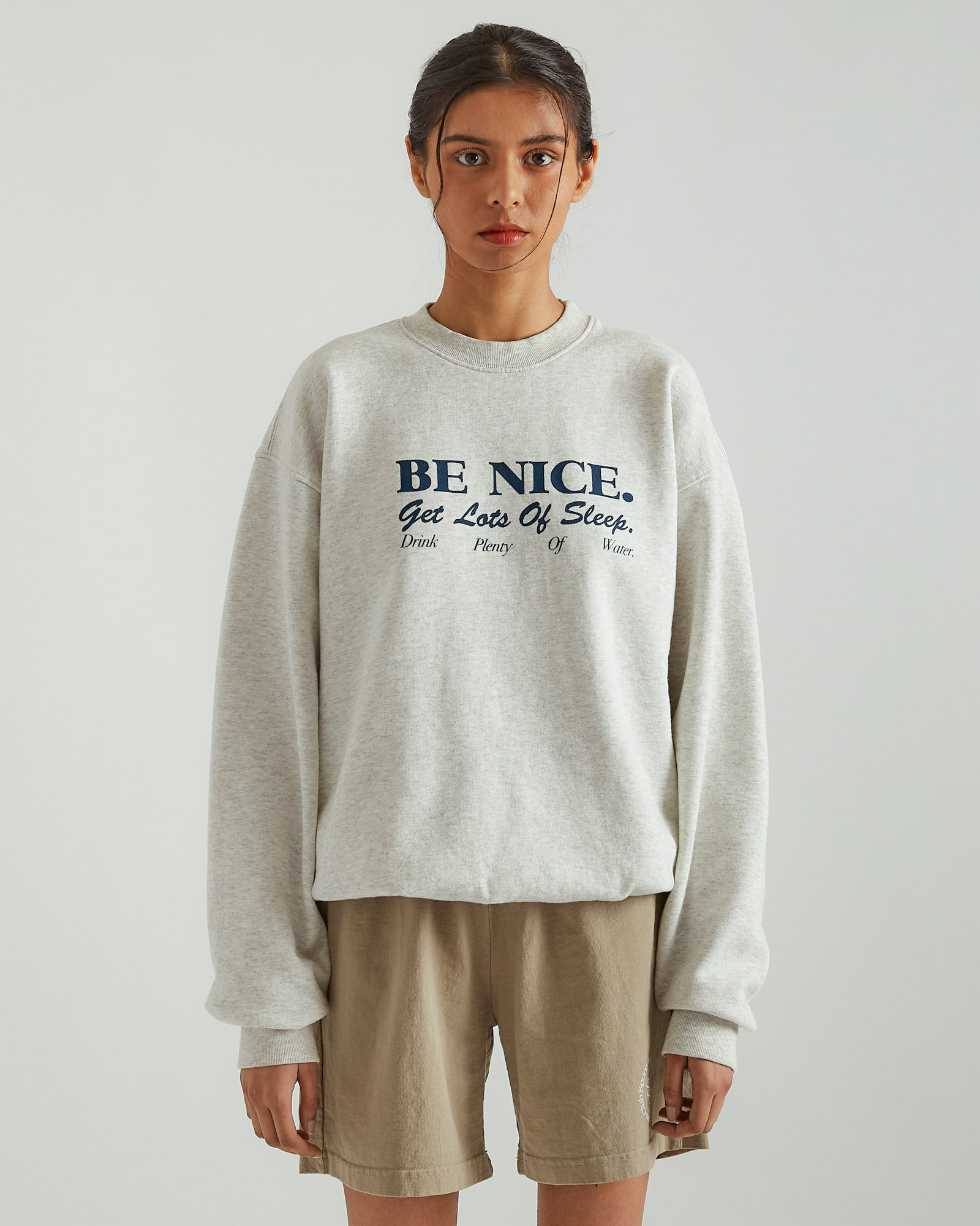 Be Nice Crewneck in Heather Gray