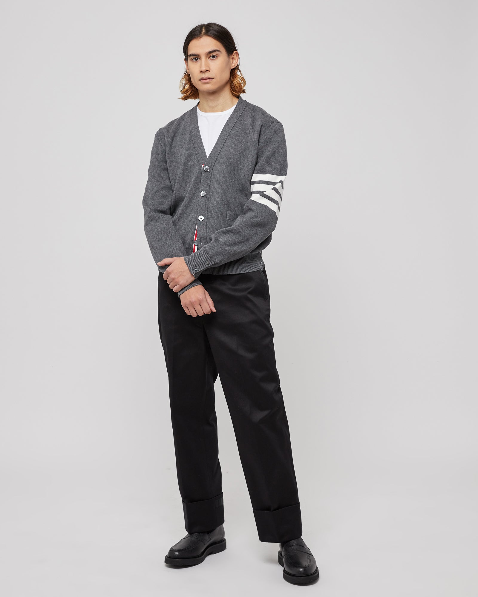 Belt-loop Straight-leg Trouser With Tipping in Black