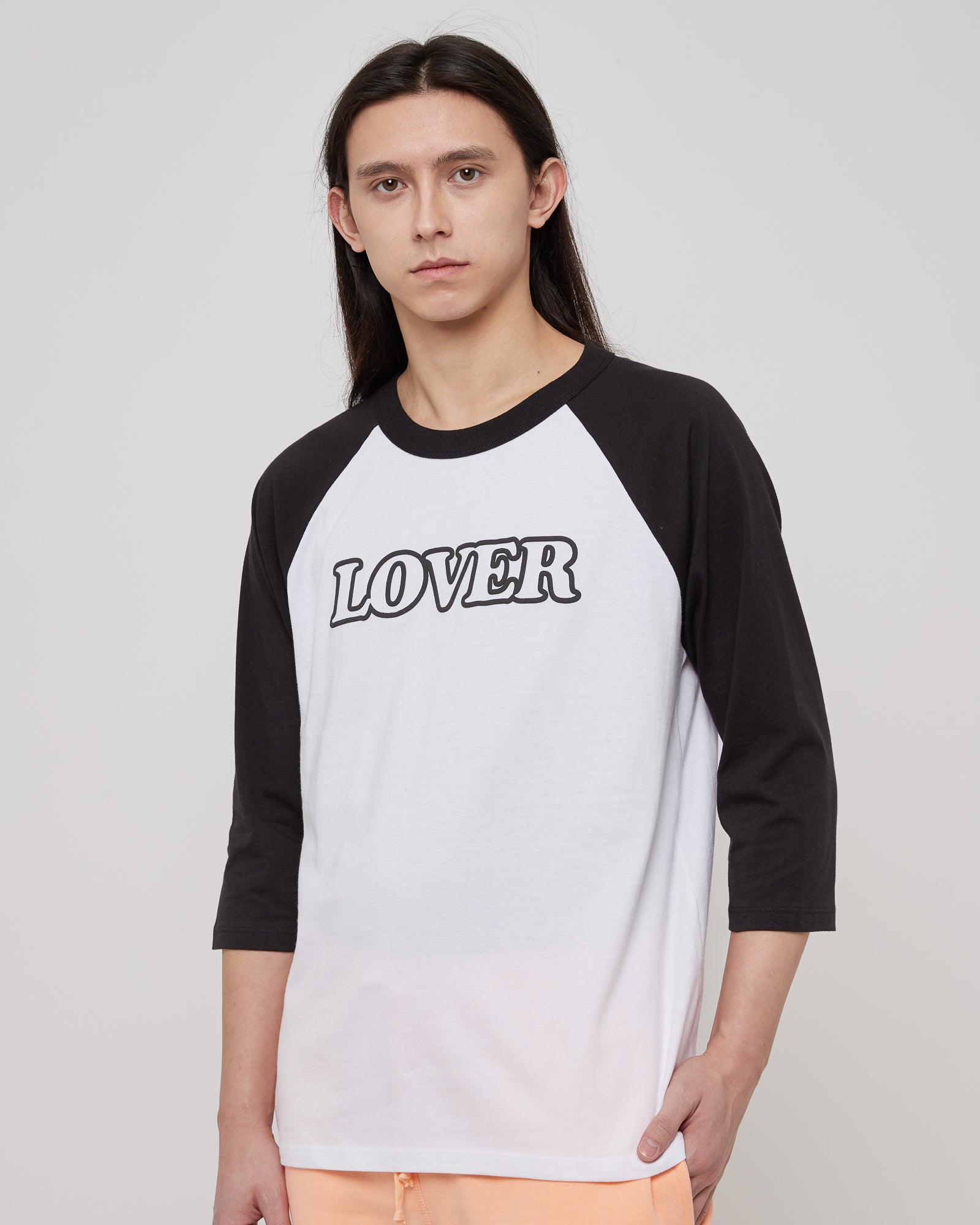 Lover 3/4 Sleeve Raglan T-Shirt in White & Black